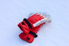Winter Snow Gloves. Winter red Snow Gloves and snow stock image