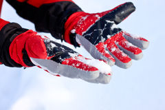 Winter Snow Gloves. Winter red Snow Gloves and snow royalty free stock images