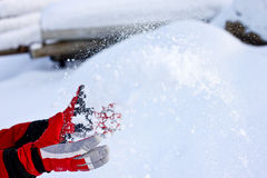 Winter Snow Gloves. Winter red Snow Gloves and snow stock photos