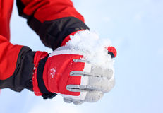 Winter Snow Gloves. Winter red Snow Gloves and snow stock photo