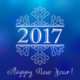 2017 winter snow happy new year card. Happy holidays card with number 2017 in white snowflake and an inscription Happy New Year Royalty Free Stock Photos