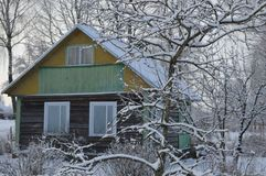 Winter snow home in the village. Winter snow vacation home in the village Stock Photography