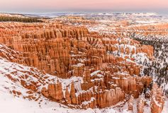 Winter and snow in Hoodoos - Bryce national park Utah USA stock images