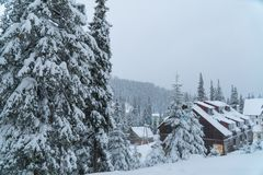Winter snow House. resort. ate in the snow. Christmas trees in the snow. Mountains landscape stock images