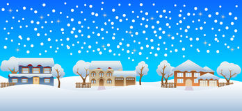 Winter snow on houses Stock Photography