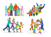 Winter snow and ice fun family activities: skiing, sledding, ice skating and making a snowman Stock Photos