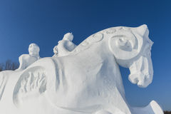 Winter snow and ice sculpture - horse Stock Photo