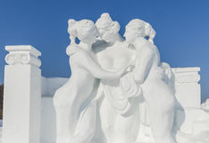 Winter snow and ice sculpture Royalty Free Stock Photos
