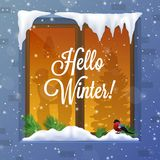 Winter And Snow Illustration. Winter and snow with window bird capes and piles realistic vector illustration stock illustration