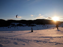 Snow kiting Stock Photo