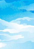 Winter snow landscape. Vector Christmas landscape with snow-covered fields and snowflakes Stock Photo