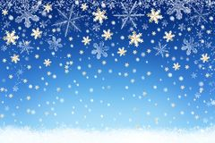 Winter snow landscape background with snowflakes. Christmas holiday backdrop Stock Photography