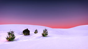 Winter snow landscape with christmas trees and little cabin. Royalty Free Stock Images