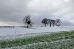 Winter snow landscape, Furfooz, Belgium royalty free stock photography
