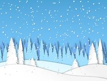 Winter snow landscape in paper cut style. Forest, snowdrifts, it is snowing. Vector royalty free illustration