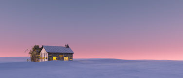 Winter snow landscape at sunset with solitude cabin. Stock Photos