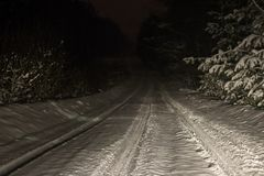 . winter snow. late night road covered with snow. one car drove by. Photo taken in the headlights stock photos