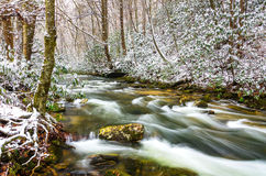Winter snow on Martins Fork River. Martins Fork River is one of Kentucky's eight dedicated and protected wild rivers. It is in the upper watershed of the mighty Royalty Free Stock Images