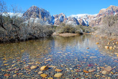 Winter and snow melt runoff in Red Rock Canyon near Las Vegas. Nevada. Red Rock Canyon National Conservation Area west of Las Vegas is made into a winter Royalty Free Stock Image