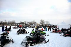 Winter snow mobile frozen lake festival Stock Photo