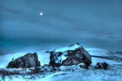 Winter Snow and Moon Scene HDR Royalty Free Stock Images
