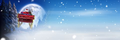 Winter snow and moon transition of Santa`s sleigh and reindeer`s Royalty Free Stock Image