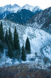 Winter snow mountain scene Royalty Free Stock Photos