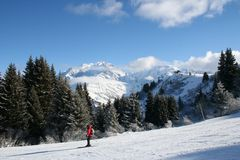 Winter snow mountains. Winter sunny mountains peaks in France Stock Photo