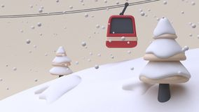 Winter snow new year concept abstract snow mountain hill lift tree cartoon style wood toy cream background 3d render royalty free illustration