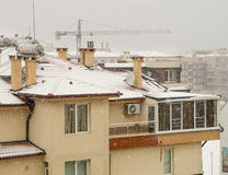 Winter, snow in Pomorie, Bulgaria stock photos
