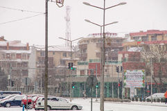 Winter, snow, Pomorie, Bulgaria stock image