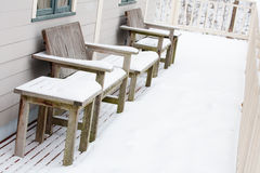 Winter: Snow on the Porch Royalty Free Stock Photos
