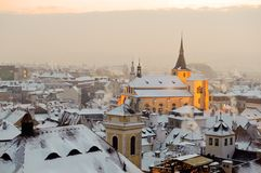 Winter snow Prague at sunrise Royalty Free Stock Photos