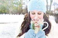 Winter, Snow, Pretty Woman Stock Photo