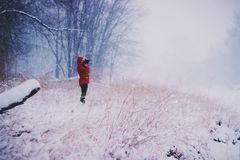 Winter Snow Red Jacket Stock Image