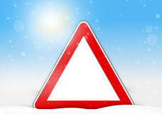 Winter snow red sign winter background Royalty Free Stock Images