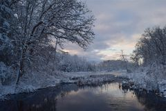Winter, Snow, Reflection, Water stock image