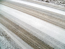 Winter, snow on the road Royalty Free Stock Photos