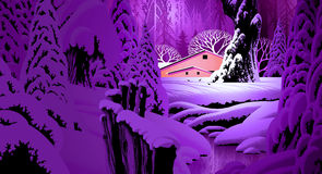 Winter Snow Scene with Barn. Image from an original 13x24 painting by Larry Jacobsen. / S-017 vector illustration