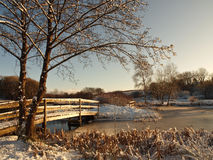 Winter snow scene on lake, Welsh Countryside Royalty Free Stock Photos