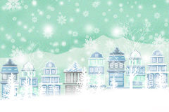 Winter Snow Scene Of Illustration Atmosphere - Graphic Painting Texture Stock Photos