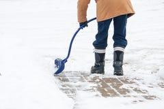 Winter snow shovelling stock image