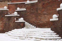 Winter snow on staircase Royalty Free Stock Image
