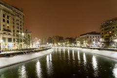 Winter Snow Storm In Bucharest City At Night Stock Image
