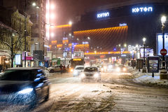 Winter Snow Storm In Bucharest City At Night Royalty Free Stock Image