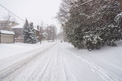 Winter snow storm in Toronto in February royalty free stock photo