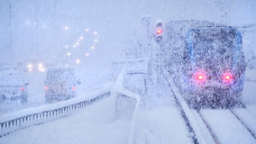 Winter snow storm, traffic Royalty Free Stock Photo