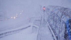 Winter snow storm, traffic stock video footage
