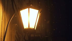 Winter snow Street lamp stock video footage