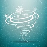 Winter snow tornado blue background. Winter snow tornado with shadow on blue background. Christmas swirl snowflakes storm Stock Photo